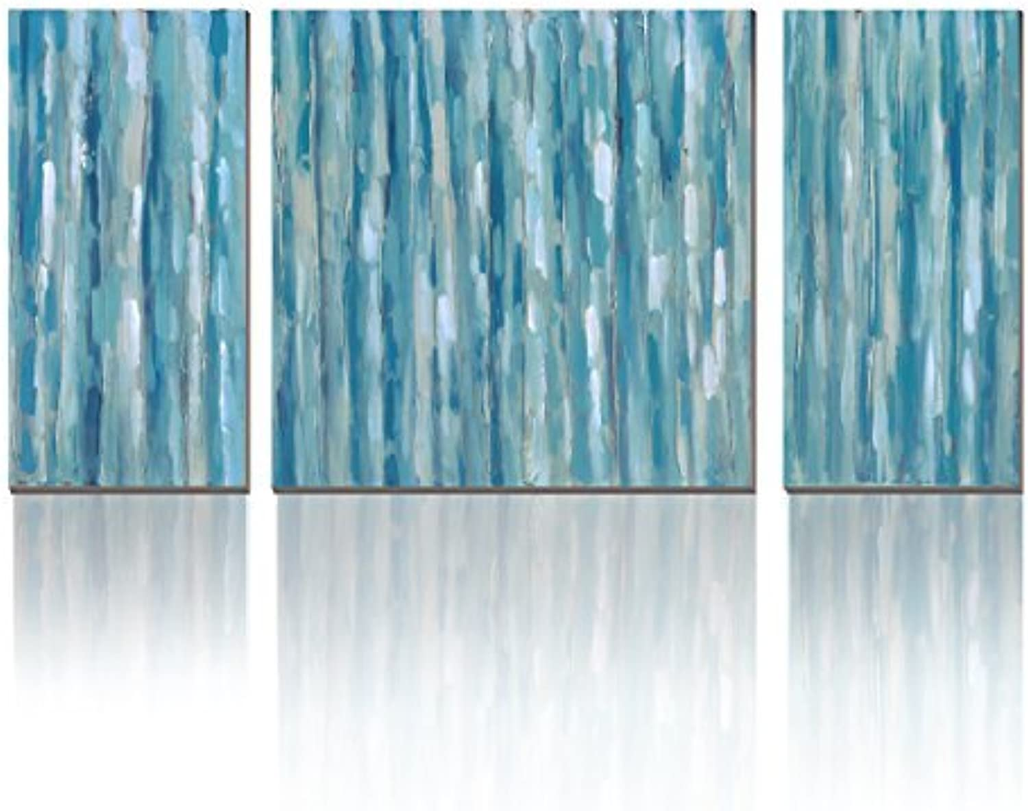 3Hdeko - Teal Abstract Wall Art Aqua bluee Stripes Painting Print on Canvas - Modern 3 Pieces Turquoise Wall Decor for Living Room Bedroom Dining Room Bathroom, Ready to Hang