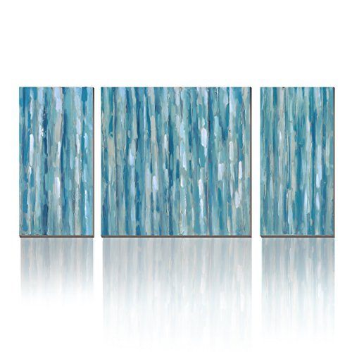 Blue Abstract Modern Prints on Canvas Artwork Cubism- Canvas Print 3 Panels Wall Art for Living Room for Wall Decor Home Decoration, Print with Glossy,Ready to Hang!