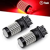 Syneticusa 3156 3157 Red LED Strobe Brake Lights Bulbs Super Bright Wedge High Power 3014 SMD 12V Flashing Strobe Stop Lights Replacement for Cars, Truck