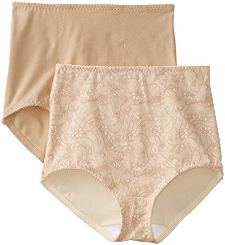 Bali Women's Smoothers Shapewear 2 Pack Cotton Brief with Light Control, Lace Flowers, Medium