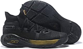 Sarah-Trend Men's High-top Basketball Shoes Curry 6 Hight Training Shoes White/Black/Gold/Blue