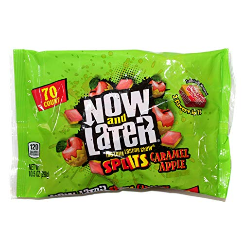 Ferrara 1 bag Now and Later Splits Caramel Apple  2 Flavors in 1  The Long Lasting Chew 70 pieces Individually Wrapped Halloween Candy  Net Wt 105 oz
