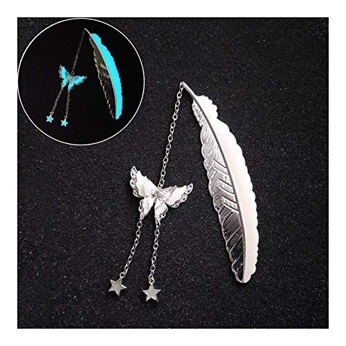 Marcadores de Libros Plumas de metal Bookmark luminosos mariposa Marcadores colgante for los regalos...