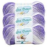 (3 Pack) Lion Brand Yarn 923-210 Ice Cream Yarn, Grape Multicolor