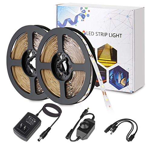 BZONE LED Strip Light - 32.8ft Daylight White Dimmable Flexible SMD2835 600LEDs 6500K Self-Adhesive LED Light Strip Full Set with DC12V 3A UL-Listed Power Supply and Dimmer