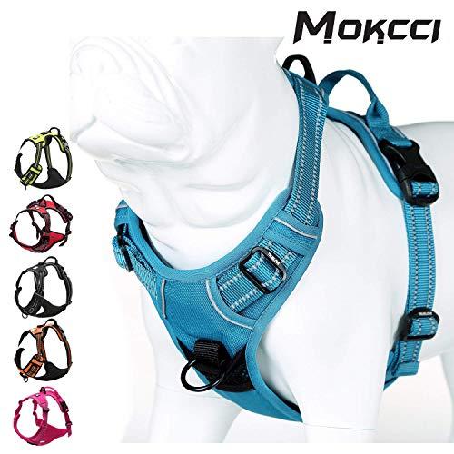 Mokcci - Arnés reflectante para perro, frontal suave, antitirones, con asa y 2 correas