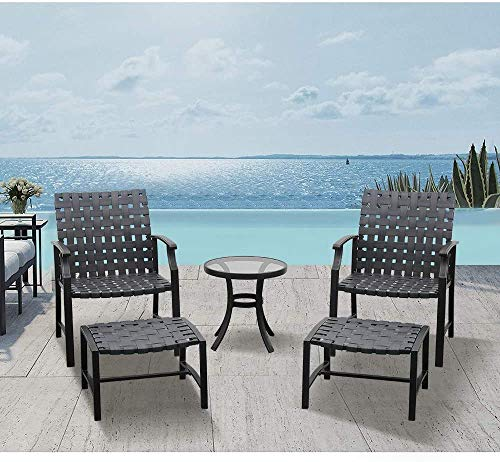 LUCKWIND Patio Lounge Chair Sofa & Ottoman - Bristo Wicker Seating Dining Outdoor Furniture Set Upgraded UV Rattan Glass Coffee Side Table – Black & Brown 5PC (300lbs Brown Wicker)
