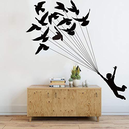 Grote luchtballon vogel kleine prinses kleuterschool muursticker kinderkamer droom jongen muursticker vogel