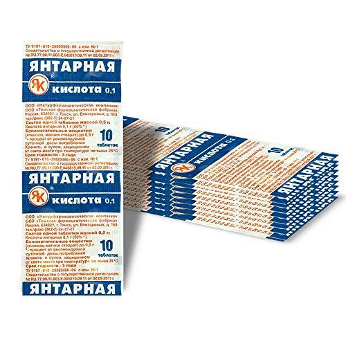 100 Tabletten Bernsteinsäure Hochdosiert 100 mg Amber Acid Succinic Янтарная кислота