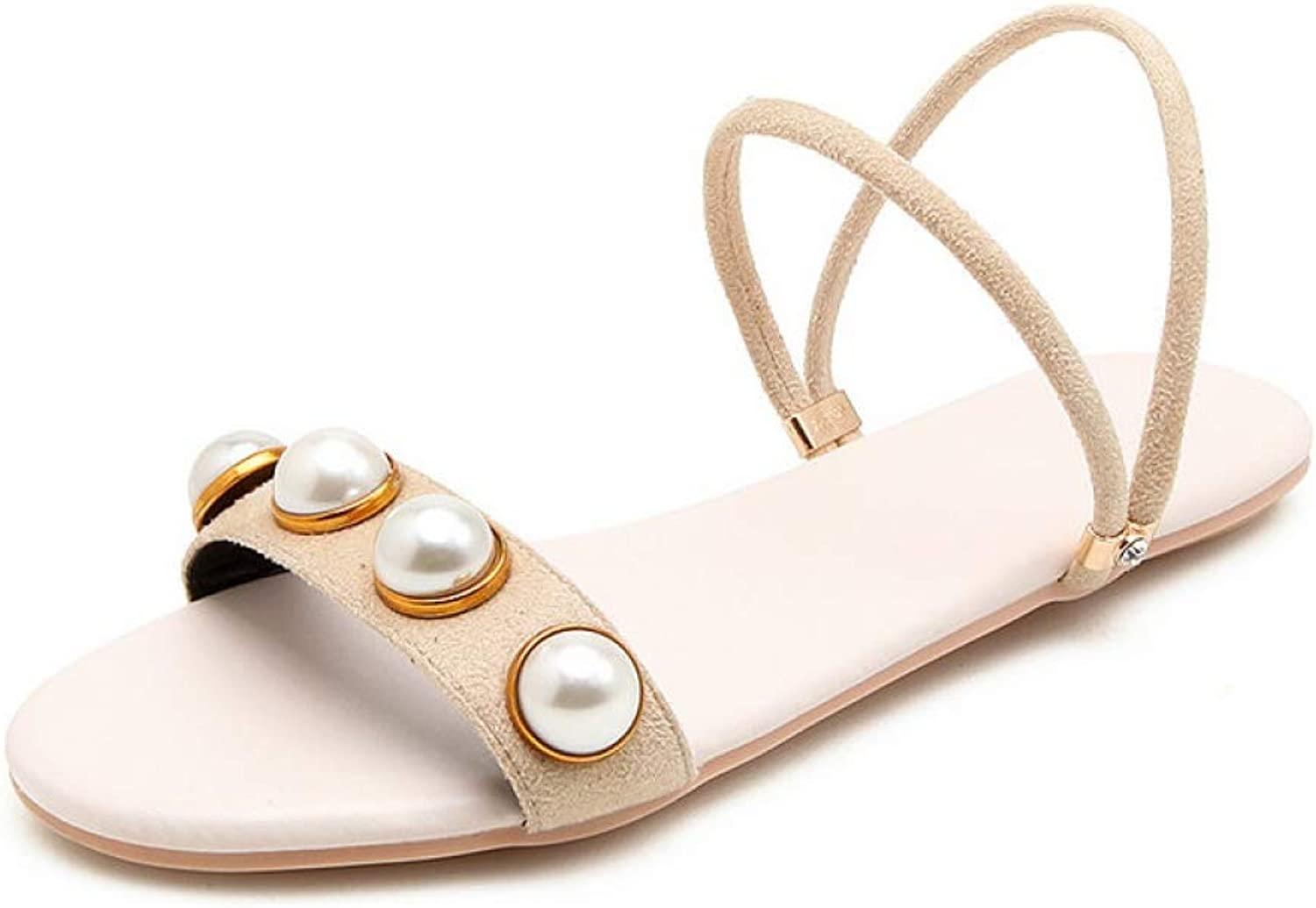 JOYBI Women's Flat Slides Sandals Pearl Open Toe Suede Slingback Soft Outdoor Beach Casual Dress Party Sandal