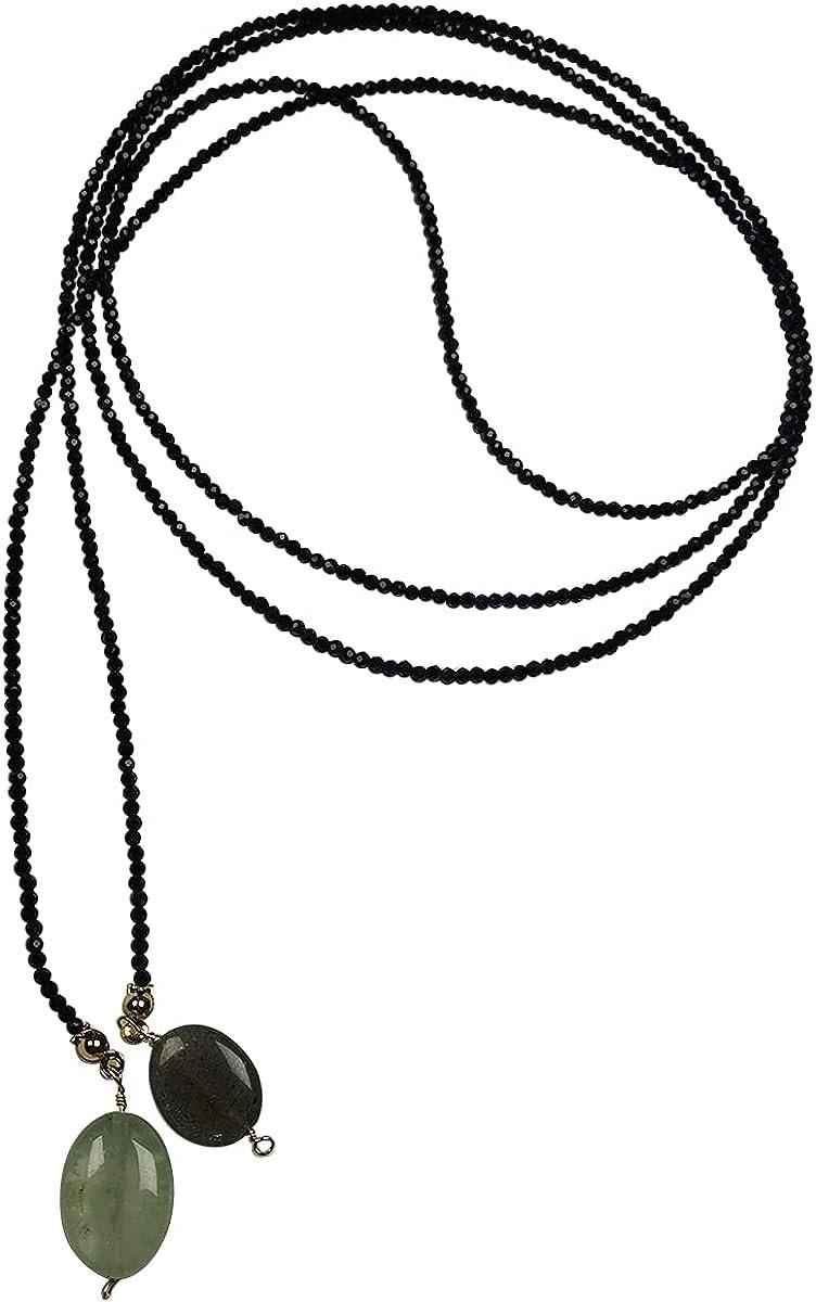 Qordelia Boho Layering Long Necklaces Black Spinel with Natural Labradorite Prehnite Pendant Multitier Beaded Necklace