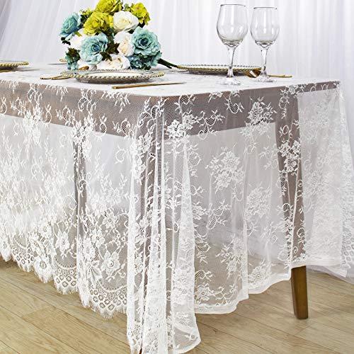 Mantel de encaje blanco de 156 x 300 cm de tela de encaje blanco de vinilo, mantel de lino superpuesto para decoración de boda al aire libre mantel de encaje de 6 pies