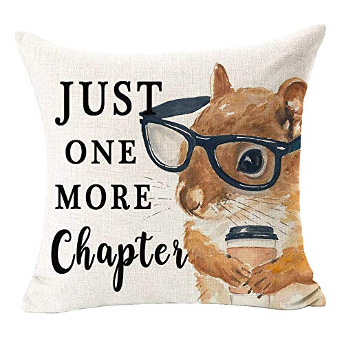 Bnitoam Reading Books Just One More Chapter Glasses Hamster Animal Quote Best Gift Cotton Linen Square Decorative Throw Pillow Cover Cushion Case for Bed Outdoor Couch Family Sofa 18 x 18 inch (G1)