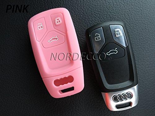 Hochwertiger Schutzüberzug aus Silikon für Keyless-/Smart-Schlüsselanhänger mit 3 Tasten, Schutzhülle 2016 2017 AUDI A3 A4 A5 A6 A7 Q2 Q3 Q5 RS4 RS5 RS6 SQ7 Q7 A8 TT SLINE (pink)