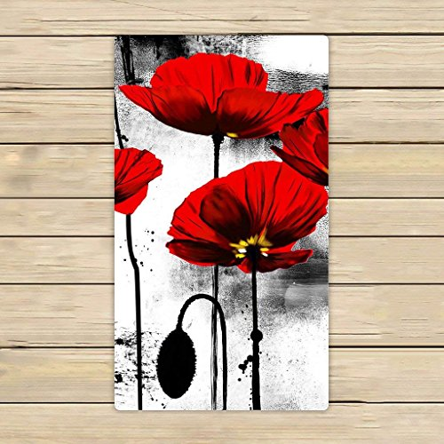 ULNIKU-T Custom Vintage Red Poppy Flower Ink Painting Art Hand Toalla,SPA Toalla,Beach Toalla de baño,Bathroom Body Shower Toalla Bath Wrap Tamaño 16x28 Inches