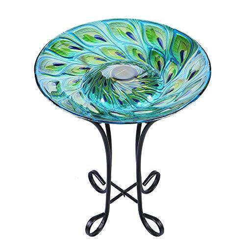 MUMTOP Solar-Vogeltränke aus Glas für den Außenbereich, mit Metallständer, für Rasen, Hof, Garten, Pfauendekoration, 45,7 cm Durchmesser, 55 cm Höhe