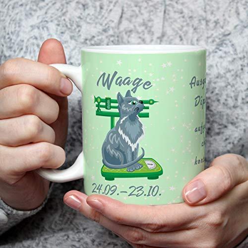 Geschenk Tasse Katze lustig mit Spruch Sternzeichen Waage Katzenmotiv Geburtstagstasse Geburtstagsgeschenk für Katzenliebhaber Frauen Freundin