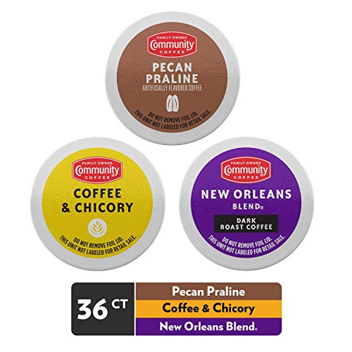 Community Coffee Taste of New Orleans Variety Pack 36 Count Coffee Pods, Compatible with Keurig 2.0 Brewers (12 Count, 3 Pack)