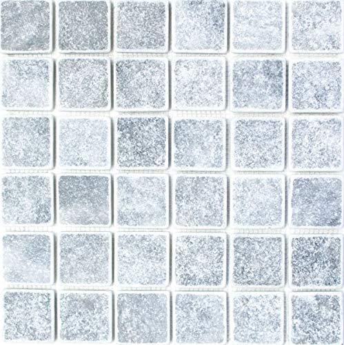 Mosaik Fliese Marmor Naturstein hellgrau Bardiglio Antique Marble MOS40-40048