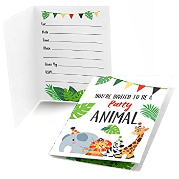 Jungle Party Animals - Fill In Safari Zoo Animal Birthday Party or Baby Shower Invitations  8 count