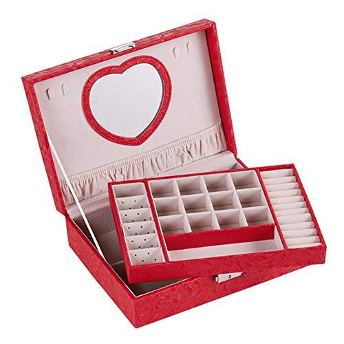 QWSNED Joyero, caja de almacenamiento de joyería de alta capacidad, caja de joyería para mujer, con espejo de maquillaje, adecuado para pendientes, anillos, relojes, collares, etc