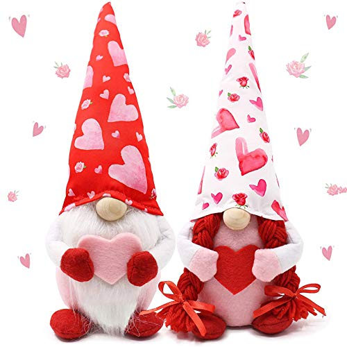 2PCS Valentines Day Decor,Cute Valentines Gnome Faceless Santa Doll,Handmade Valentine's Gifts for Women/Men,Valentines Day Decorations Ornaments for The Home