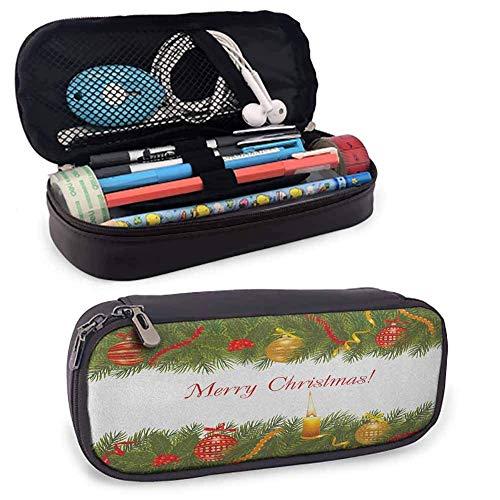 Tragbare Weihnachts-Tragetasche/Tasche/Beutel/Halter, Weihnachtsbaum mit festlichen en und brennender Kerze im Retro-Stil Han