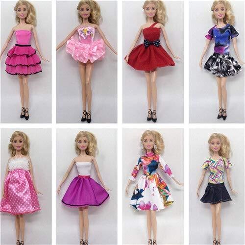 XKMY Barbie Doll 8 unids/lote Ropa de muñeca de moda conjuntos ropa casual vestido de fiesta trajes para Barbie muñeca mejor regalo bebé juguete (color