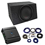 Universal Car Stereo Hatchback Sealed Single 12' Alpine Type R R-W12D4 Sub Box Enclosure with S-A60M Amplifier & 4GA Amp Kit