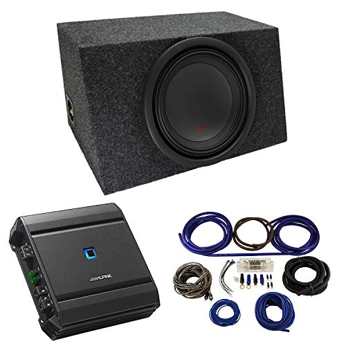 """Universal Car Stereo Hatchback Sealed Single 12"""" Alpine Type R R-W12D4 Sub Box Enclosure with S-A60M Amplifier & 4GA Amp Kit"""