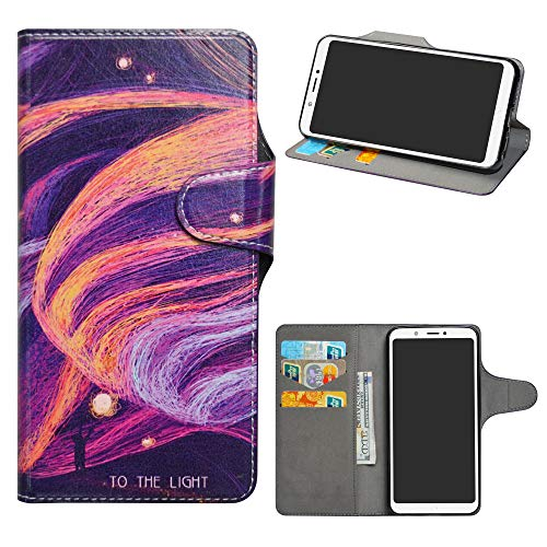 HHDY BQ Aquaris C Funda, Diseño PU Cuero Libro Soporte Plegable y Ranuras para Tarjetas Dibujos Caso Cover para BQ Aquaris C,Brilliant Purple