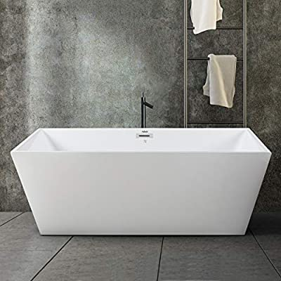 """FerdY Palawan 59"""" Acrylic Freestanding Bathtub, Rectangle Contemporary Design Freestanding Soaking Bathtub, Glossy White, cUPC Certified, Chrome Drain and Classic Slotted Overflow Included, 02532"""
