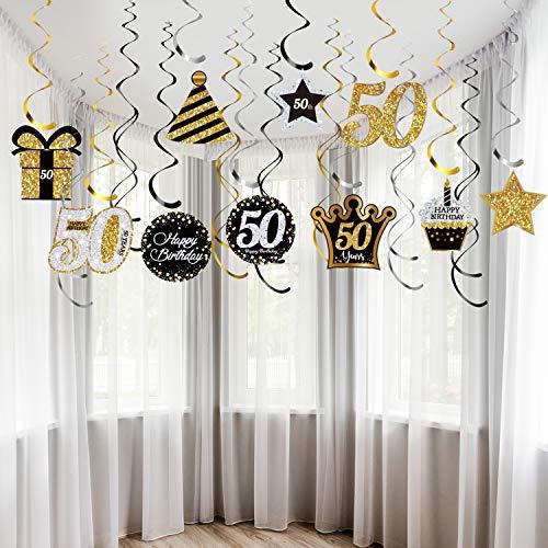 50. Geburtstagsfeier Dekorationen, 50. Geburtstagsfeier Hängende Strudel Decke Schwarzes und Golddekorationen Glänzende Folien Strudel für Beifall bis 50 Jahre Geburtstagsfeier Deckendekor, 30CT