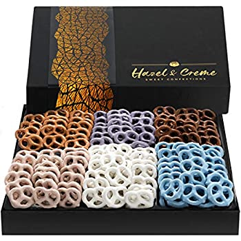 Hazel & Creme Yogurt Pretzels - 6 Flavors - Chocolate Covered Pretzels - Food Gift Basket - Thank You Sympathy Birthday Gift