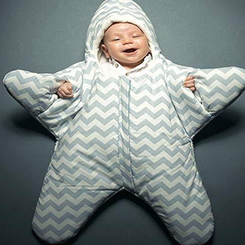 QWERTYU Baby Slaapzak Leuke Zeester Stijl Baby Slaapzak voor 0-6 Maand Baby, Afmetingen: 85 x 53cm (Zwart) LIFUQIANGME, Grijs