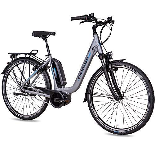CHRISSON 28 Zoll Damen Trekking- und City-E-Bike - E-Cassiopea hellgrau - Elektro Fahrrad Damen - 7G Shimano Nexus Nabenschaltung - Pedelec mit Bosch Mittelmotor Active Line 250W 40Nm, Rücktritt