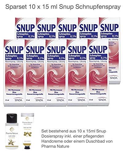 Snup Schnupfenspray Nasenspray 0,1{90e318c866dbe8d66907061d1669050f83504eb5d2343eb66587b4e3074b34de} 15 ml Sparset - 10 x 15 ml inkl. einer pflegenden Handcreme oder Duschbad von Pharma Nature