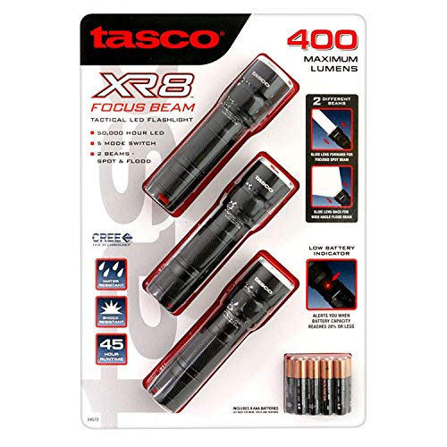Tasco XR8 Focus Beam Tactical LED Flashlight 3 pack