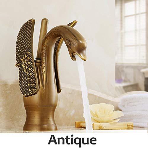 Küchenarmatur Becken Schwan Vergoldet Hotel Luxus Kupfer Gold Mixer Wasserhähne Heiß Und Kalt-Antiquität