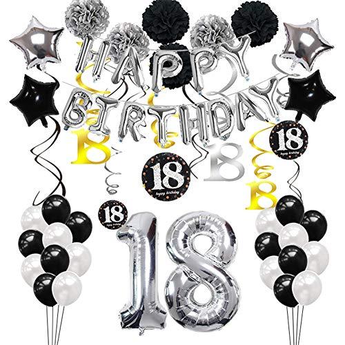 Toupons 18 Geburtstag Dekorationen für Jungen und Männer, Geburtstagsdeko 18. Geburtstag Silber und Schwarz 18th Happy Birthday Banner Girlande Star Folie Luftballons Dekoration Geburtstag Party Set
