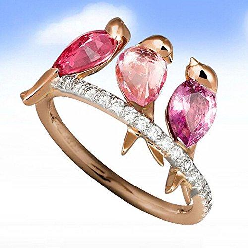 Janly Clearance Sale Anillos para mujer, hombres y mujeres, joyas de animales, 3 pájaros, incrustaciones de rubí, oro rosa, joyería y relojes para Navidad, San Valentín (oro rosado)