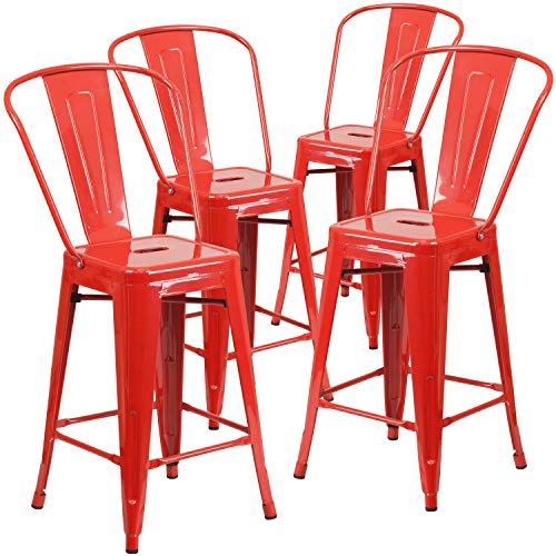 Flash Furniture Commercial Grade 4 Pack 24' High Red Metal Indoor-Outdoor Counter Height Stool with Removable Back