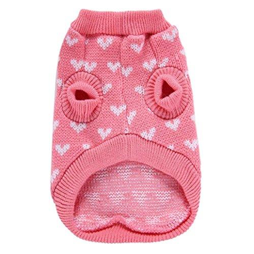 Angelof vêtement Chien Habit Pull Tricot pour Chien Rose Coeur Rond Cou Petit Chien Animal Mignon VêTements Chiot Chandail (M)