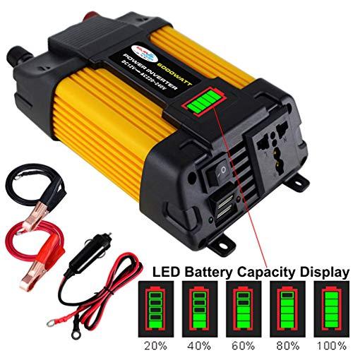 Xegood Wechselrichter 3000W/4000W/6000W Reiner Sinus Wechselrichter DC 12V auf AC 110V oder 220V Inverter Autoladegerät mit 1 Steckdose 2 USB Anschlüsse Y4000/Y6000:(DC12V-AC220V) 6000W