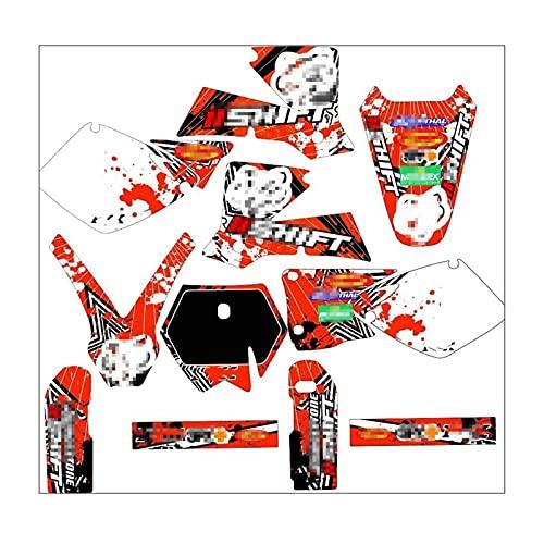 Tatumyin Pegatinas de Motocross Calcomanías Gráficos Fondos Kits para K*T*M SX 125 250 520 2001 2002 hnszf (Color : Green)