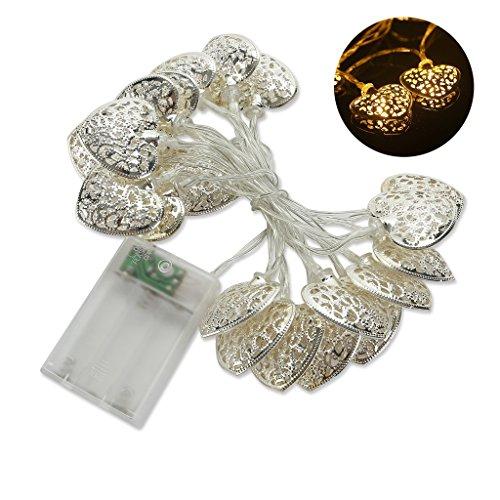 iMusi Guirlande à 20 LEDs Ampoules En Forme Coeur Métal Decoration Pour Maison Noël Mariage Anniversaire 200cm - Blanc chaude