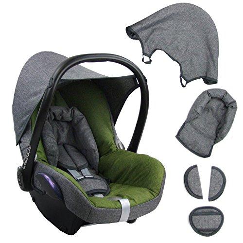BAMBINIWELT Ersatzbezug für Maxi-Cosi CabrioFix 6-tlg. GRAU/GRÜN, Bezug für Babyschale, Komplett-Set XX