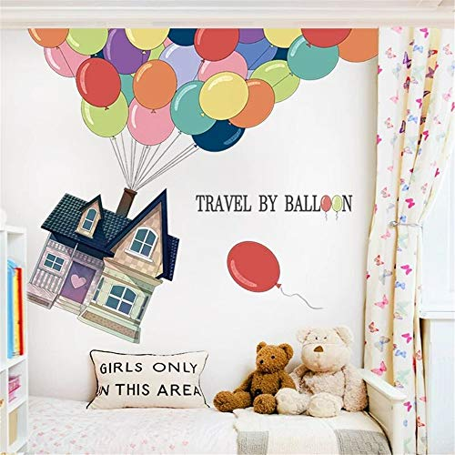 DERUN TRADING Cartoon Balloon House Wall Decals Sticker Art Decor for Nursery Peel & Stick Removable Vinyl Stickers for Baby Children's Room Toddler Boys Girls Rooms Kids Bedroom Multiple Decorative