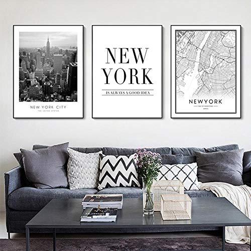 Mapa de Nueva York Escena de la ciudad moderna Pinturas en lienzo Arte de la pared en blanco y negro Imágenes Carteles e impresiones para la sala de estar Decoración del hogar 50x70cm Sin marco