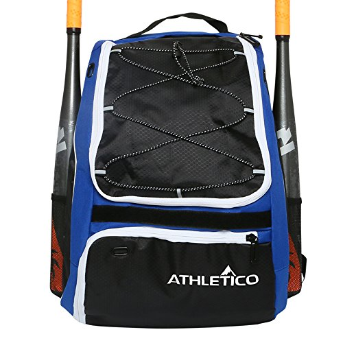 Athletico Baseball Bat Bag - Backpack for Baseball, T-Ball & Softball Equipment & Gear for Youth and Adults | Holds Bat, Helmet, Glove, & Shoes | Separate Shoe Compartment & Fence Hook (Blue)
